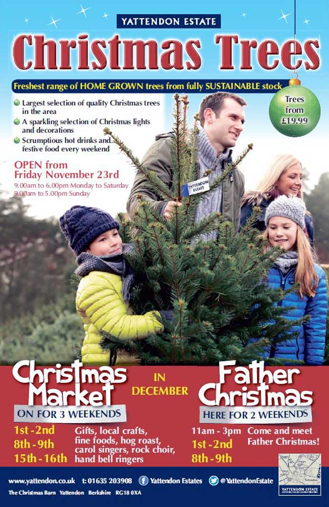 The largest range of quality Christmas trees in West Berkshire from Yattendon Estates, serving the towns of Newbury, Thatcham, and Hungerford. Easy parking plus a splendid array of Xmas decorations and foods.